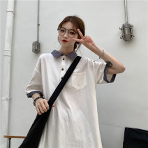 Women's large Spring 2021 white Average size T-shirt singleton  commute easy thin Socket Short sleeve Solid color Korean version Crew neck Medium length Polyester cotton routine I1565 Xianwan Poetry 18-24 years old Polyester 65% Cotton 30% polyurethane elastic fiber (spandex) 5%