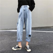Women's large Spring 2020 wathet S M L XL 2XL Jeans singleton  commute easy moderate Solid color Korean version other Xianwan Poetry 18-24 years old hole 96% and above Other 100% Pure e-commerce (online only) trousers