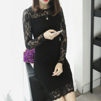 Dress Spring of 2018 Black 3151 thin M L XL 2XL Mid length dress singleton  Long sleeves commute Crew neck middle-waisted Solid color Socket Pencil skirt other Others 25-29 years old Xianwan Poetry Korean version Lace J3151 More than 95% other other Other 100% Pure e-commerce (online only)