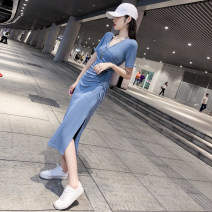 Dress Summer of 2019 Black, haze blue S,M,L,XL Mid length dress singleton  Short sleeve commute V-neck High waist Solid color Socket other routine Others Other / other 81% (inclusive) - 90% (inclusive) other other