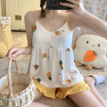 Pajamas / housewear set female Other / other M,L,XL,XXL cotton camisole Sweet Leisure home summer Thin money V-neck other shorts Socket youth 2 pieces rubber string More than 95% pure cotton printing 200g