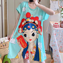 Nightdress Other / other It can be worn within 180 kg Sweet Short sleeve pajamas Middle-skirt summer Cartoon animation youth Crew neck cotton printing More than 95% pure cotton 200g and below