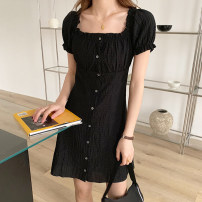 Dress Summer 2021 black S,M,L Middle-skirt singleton  Short sleeve commute square neck Loose waist Solid color Single breasted A-line skirt puff sleeve Others Type A Korean version Pleats, buttons HZ21916 other polyester fiber