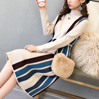sweater Winter of 2018 S M L XL Beige coffee blue bar red bar blue red Long sleeves Socket singleton  Medium length other 95% and above Half high collar Regular commute routine stripe Straight cylinder Regular wool Keep warm and warm 25-29 years old Miao Shi MS122101 Other 100%