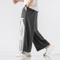 Casual pants Others Youth fashion Grey, black, dark grey K35 S,M,L,XL,2XL,3XL,4XL,5XL routine trousers Other leisure easy No bullet summer Large size Chinese style 2020 middle-waisted Straight cylinder Flax 40% Cotton 30% polyethylene terephthalate (polyester) 30% Haren pants printing washing hemp