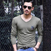 T-shirt Fashion City T07 V-neck black, T07 V-neck white, T07 V-neck green, T06 crew neck black, T06 crew neck white, T06 crew neck green routine M,L,XL,XXL,XXXL Others Long sleeves Crew neck Self cultivation Other leisure spring Cotton 95% polyester 5% youth routine American leisure other 2019 other