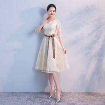 Dress / evening wear Wedding, adulthood, party, company annual meeting, performance, routine, appointment XXL, XS, s, m, l, XL, custom size White, champagne, crew neck fashion Medium length middle-waisted Spring of 2019 A-line skirt zipper Brocade, silk, plain satin, poplin elbow sleeve