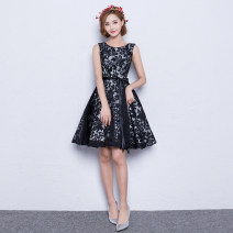 Dress / evening wear Wedding, adulthood, party, company annual meeting, performance, routine, appointment XXL,S,M,L,XL claret Korean version Short skirt middle-waisted Spring 2017 Skirt hem One shoulder zipper Brocade 18-25 years old Sleeveless Solid color