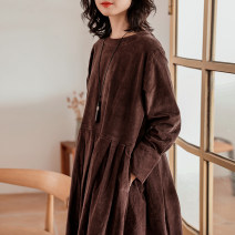Dress Spring 2021 S,M,L Mid length dress singleton  Long sleeves commute Crew neck Loose waist Solid color Socket Big swing shirt sleeve Others 30-34 years old Type X Keran products literature More than 95% cotton