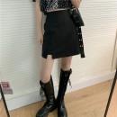skirt Spring 2021 S,M,L Apricot, light blue, pink, black Short skirt commute High waist A-line skirt Solid color Type A 18-24 years old 51% (inclusive) - 70% (inclusive) brocade polyester fiber zipper Korean version
