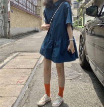 Dress Summer 2020 Post and Telecommunications blue Average size Mid length dress singleton  Short sleeve commute Polo collar Loose waist Solid color Socket other routine Others 18-24 years old Type H Korean version 31% (inclusive) - 50% (inclusive) cotton