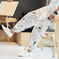 Casual pants Others Youth fashion Milky white, black, Navy, k801 khaki M,L,XL,2XL,3XL,4XL,5XL thin trousers Travel? Extra wide Micro bomb summer Large size Chinese style 2018 middle-waisted Little feet Polyester 100% Sports pants Animal design cotton cotton