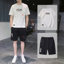 Leisure sports suit summer M/165,L/170,XL/175,2XL/180,3XL/185 White, black Short sleeve Other / other shorts teenagers T-shirt ADHDS399 cotton 2021 100% cotton 100%