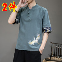 T-shirt Youth fashion routine 3XL,2XL,XL,L,M,4XL,5XL Others elbow sleeve V-neck easy Home summer youth Bat sleeve tide 2021 houndstooth  Button decoration Retro nationality No iron treatment