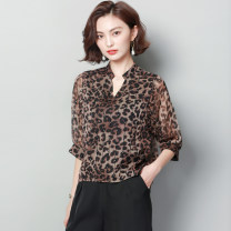 shirt Picture color M,L,XL,2XL,3XL Summer 2020 Chloroprene 30% and below elbow sleeve commute Regular V-neck Socket puff sleeve Leopard Print Straight cylinder Other / other Korean version Bright silk, button