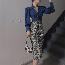 Women's large Autumn 2020 Denim top, leopard skirt It is suggested that the size of the recommended size is 120-40kg, and it is recommended to use the size of 120-40kg Two piece set commute easy moderate Long sleeves Korean version other other 18-24 years old