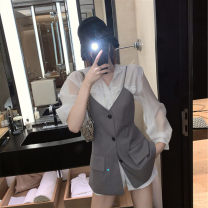 Women's large Summer 2020 Shirt, suit, suspender skirt It is suggested that the size of the recommended size is 120-40kg, and it is recommended to use the size of 120-40kg Dress Two piece set commute easy moderate Long sleeves Korean version 18-24 years old Short skirt