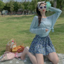 Women's large Spring 2021, summer 2021 Blue sunscreen, blue skirt It is suggested that the size of the recommended size is 120-40kg, and it is recommended to use the size of 120-40kg Two piece set commute easy moderate Long sleeves Korean version routine GOmmwt 18-24 years old Short skirt