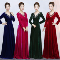 Dress / evening wear Wedding, adulthood, party, company annual meeting, performance, routine, appointment Korean version longuette middle-waisted Spring of 2018 Fall to the ground Deep collar V zipper Silk velvet 26-35 years old Long sleeves Nail bead routine Sequins