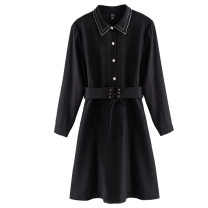 Women's large Spring 2021 Black, red Large XL, large L, 2XL, 3XL, 4XL, 5XL Dress commute Solid color 30-34 years old Three dimensional decoration zipper