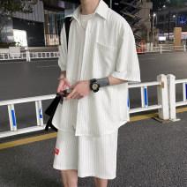 Leisure sports suit summer M L XL 2XL White black light blue three quarter sleeve You Lin shorts teenagers shirt YL330S20-P78 cotton Summer 2021 cotton