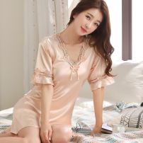 Pajamas / housewear set female JORY COCO M,L,XL,XXL Iced silk Short sleeve sexy pajamas routine V-neck Solid color youth one-piece garment More than 95% lace 220g Middle-skirt