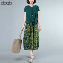 Dress Summer 2020 Green two-piece set Zhangqing two-piece set of red top + blue grey skirt ashy Top + blue grey skirt M L XL XXL Mid length dress Two piece set Short sleeve commute Crew neck Elastic waist Decor other other Others 40-49 years old Type X dpqb Korean version Pocket lace up stitching