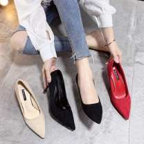 Low top shoes 35,36,37,38,39,34 Other / other Black 6cm, red 6cm, beige 6cm, black 8cm, red 8cm, beige 8cm Sharp point Suede Fine heel High heel (5-8cm) Shallow mouth Superfine fiber Autumn of 2019 Trochanter Korean version Adhesive shoes Youth (18-40 years old) Solid color rubber Single shoes PU