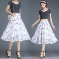 skirt Summer 2021 Medium length skirt A-line skirt commute High waist Design and color 81% (inclusive) - 90% (inclusive) other Type A 218-55 Chiffon printing Korean version One size fits all