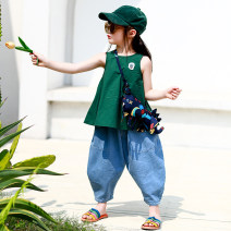 T-shirt Green vest Xiaomi candy 80cm,90cm,100cm,110cm,120cm,130cm female summer Crew neck Korean version There are models in the real shooting nothing other Solid color Other 100% 7 years old, 12 months old, 3 years old, 6 years old, 18 months old, 2 years old, 5 years old, 4 years old Dongguan City