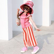 T-shirt Pink Knitted Vest Xiaomi candy 80cm,90cm,100cm,110cm,120cm,130cm,140cm female summer Long sleeves Crew neck Europe and America There are models in the real shooting nothing other Solid color 7 years, 8 years, 12 months, 3 years, 6 years, 18 months, 2 years, 5 years, 4 years Chinese Mainland