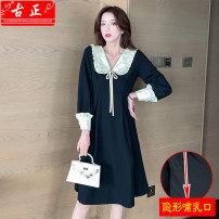 Nursing clothes black M L XL 2XL Guzheng Socket spring and autumn Long sleeves Medium length Korean version Dress Solid color Side opening