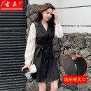 Nursing clothes black M L XL 2XL Guzheng Socket autumn Long sleeves Medium length Korean version Dress Solid color Side opening