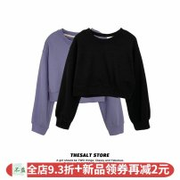 Sweater / sweater Autumn 2020 Purple top, black top Average size Long sleeves have cash less than that is registered in the accounts Socket singleton  routine Crew neck easy commute Wrap sleeves Solid color 18-24 years old 96% and above Korean version polyester fiber