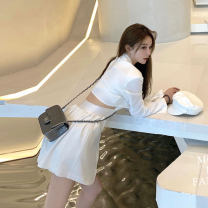 Dress Spring 2021 White dress black dress S M L Short skirt singleton  Long sleeves commute tailored collar High waist Solid color Single breasted A-line skirt routine Others 25-29 years old Type X Mood color Korean version Hollow button DA22-08 More than 95% other Other 100%