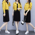 Dress Autumn 2020 Yellow fruit green M L XL 2XL Middle-skirt Two piece set Long sleeves commute Crew neck Loose waist Solid color Socket A-line skirt routine camisole 25-29 years old Type H Charm Korean version Threaded button YM2020454 More than 95% other Other 100% Pure e-commerce (online only)