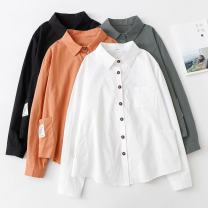 shirt Gray orange white black Average size Autumn of 2019 cotton 96% and above Long sleeves commute Regular stand collar Single row multi button routine Solid color 18-24 years old Self cultivation Snow Korean version CS8051 Cotton 100% Pure e-commerce (online only)