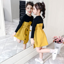 Dress Spring 2021 Yellow, army green 110cm,120cm,130cm,140cm,150cm,160cm,170cm Mid length dress Fake two pieces Long sleeves commute Crew neck Solid color Irregular skirt Under 17 Type A Other / other Korean version 81% (inclusive) - 90% (inclusive)
