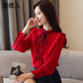 Lace / Chiffon Fall 2017 S M L XL 2XL Long sleeves commute Cardigan singleton  easy Regular stand collar Solid color shirt sleeve 25-29 years old Huang qianer Korean version Other 100% Pure e-commerce (online only)