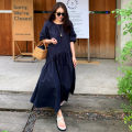 Dress Summer 2020 Navy Blue S M L XL longuette singleton  Short sleeve commute Crew neck Loose waist Solid color Socket A-line skirt shirt sleeve 18-24 years old Pure seaman fold Csm20ftm one color Navy skirt More than 95% cotton Cotton 100% Pure e-commerce (online only)