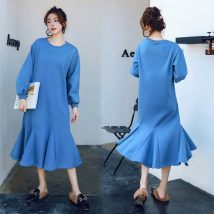 Dress Winter of 2018 blue M L XL longuette singleton  Long sleeves commute Crew neck Loose waist Solid color Socket other routine Others Other / other cotton