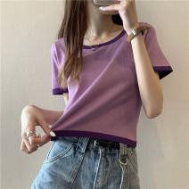 Wool knitwear Summer 2021 Average size Purple, black, white, blue, green, raspberry powder, orange, pink, skin powder,? Short sleeve singleton  other More than 95% Regular routine commute Self cultivation other Socket 18-24 years old Other / other