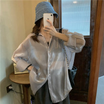 shirt White, gray, q Average size Spring 2021 other 96% and above Long sleeves commute Medium length Single row multi button routine Solid color Straight cylinder Other / other