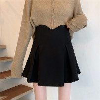 skirt Spring 2021 S,M,L Black, q Short skirt commute High waist A-line skirt Solid color Type A 18-24 years old Other / other other
