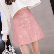 skirt Autumn of 2019 S,M,L,XL,2XL Black, pink, blue Short skirt High waist A-line skirt Solid color Type A 71% (inclusive) - 80% (inclusive) Other / other PU