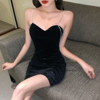 Dress Winter of 2019 Sexy black S, M Other / other