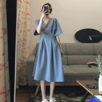 Dress Summer 2020 blue S M L XL Mid length dress singleton  Short sleeve commute V-neck High waist Solid color Socket A-line skirt routine Others 18-24 years old Type A Fashaxuan Korean version 20200524C5N3768 71% (inclusive) - 80% (inclusive) polyester fiber Polyester 80% other 20%