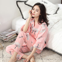 Pajamas / housewear set female Other / other M, L Light grey, pink cotton three quarter sleeve pajamas spring Thin money V-neck trousers pure cotton