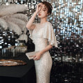 Dress / evening wear The company's annual convention performs daily appointments XS S M L XL XXL Champagne bf-1344 Korean version longuette middle-waisted Autumn 2020 fish tail U-neck zipper 18-25 years old YWR20076 Short sleeve Nail bead Solid color Yuwanru Flying sleeve Other 100% other Sequins