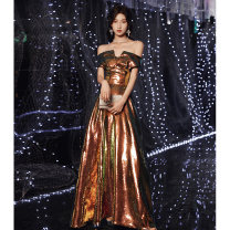 Dress / evening wear The company's annual convention performance date XS S M L XL XXL Picture color bf-1147-1 Korean version longuette middle-waisted Winter 2020 Fall to the ground One shoulder Bandage 18-25 years old YWR20097 Short sleeve Embroidery Decor Yuwanru other Other 100% other